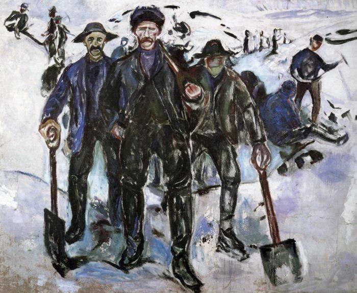 Edvard Munch. Workers in the Snow.