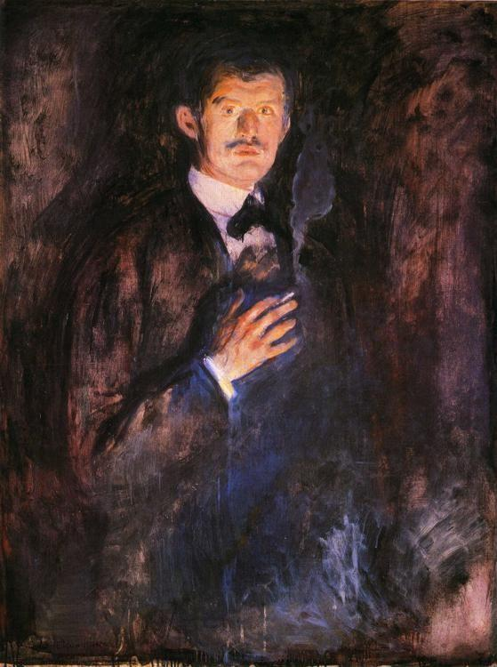 Edvard Munch. Self-Portrait with Burning  Cigarette.