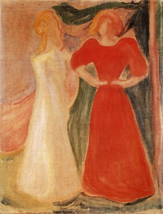 Edvard Munch Two Girls From The Reinhardt Frieze