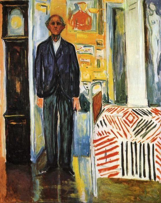 Edvard Munch. Self-Portrait: Between Clock  and Bed.