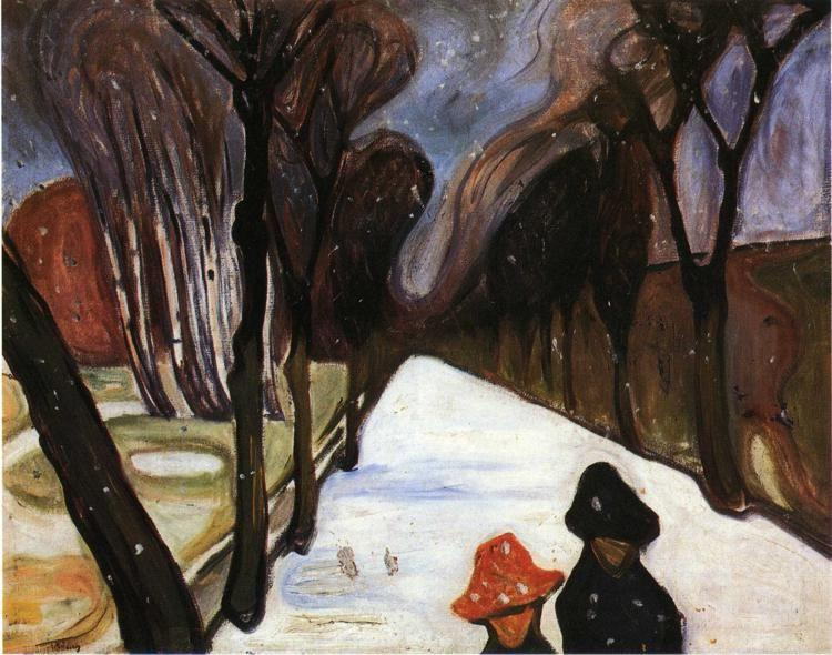 Edvard Munch. Snow Falling in the Lane.