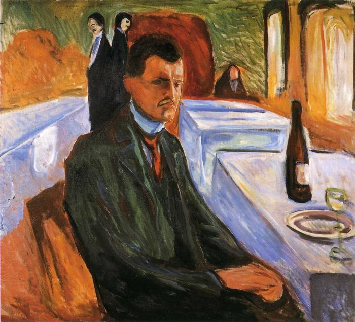 Edvard Munch. Self-Portrait with Wine Bottle.