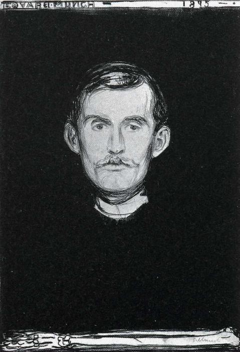 Edvard Munch. Self-Portrait with Skeleton Arm.