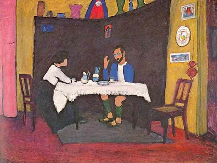 Gabriele Münter. Kandinsky and Erma  Bossi at the Table in the Murnau House.