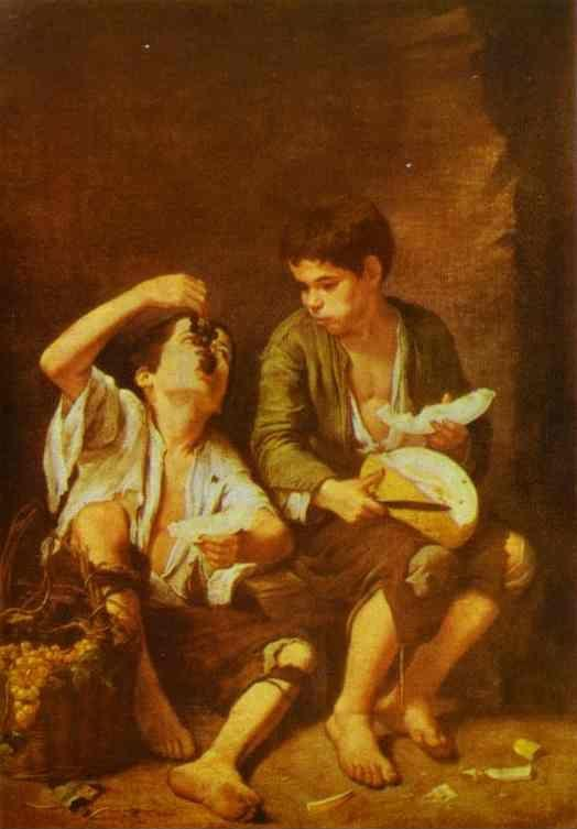 Bartolomé Esteban Murillo. Grape  and Melon Eaters.