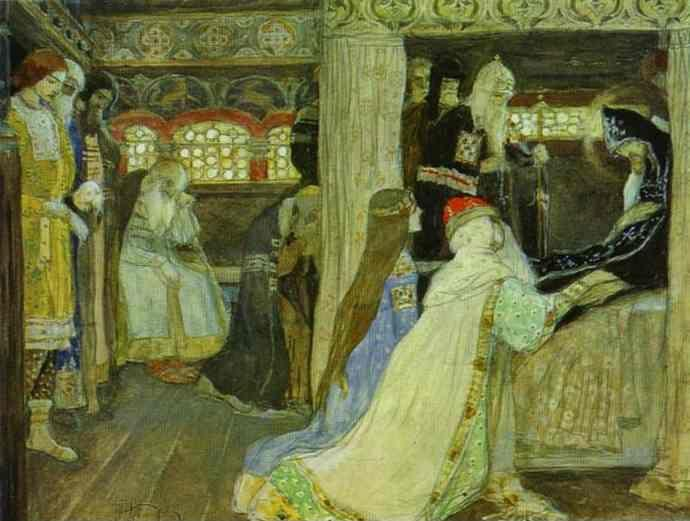 Mikhail Nesterov. Death of Prince Alexander Nevsky. Sketch for frescoes in Alexander Nevsky Cathedral in Abasturman, Georgia.