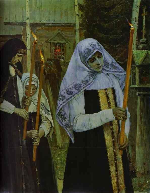 Mikhail Nesterov. Taking the Veil . Detail.