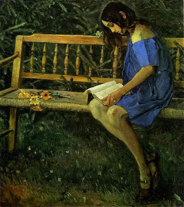 Mikhail Nesterov. Portrait of Natasha Nesterova (On a Garden Bench).