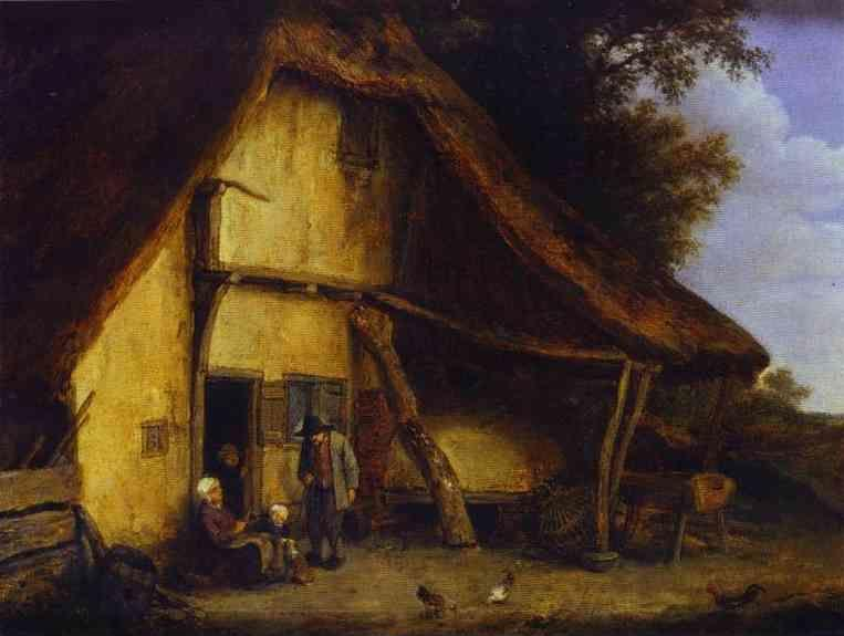 Adriaen van Ostade. A Peasant Family Outside a Cottage.