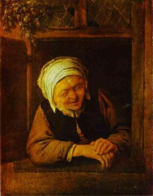 Adriaen van Ostade. An Old Woman by Window.