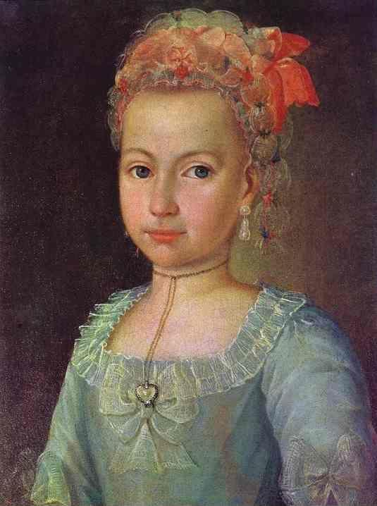 Grigory Ostrovsky. Portrait of Anna Lermontova at the Age of 5.