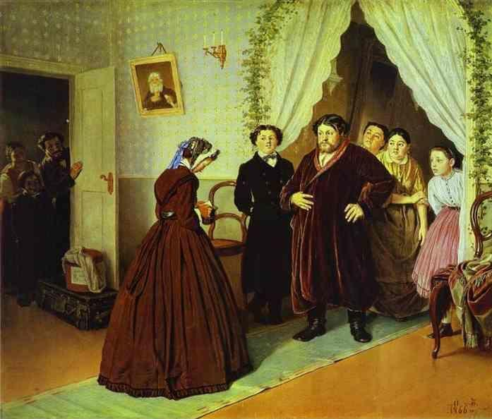 Vasily Perov. Arrival of a New Governess  in a Merchant House.