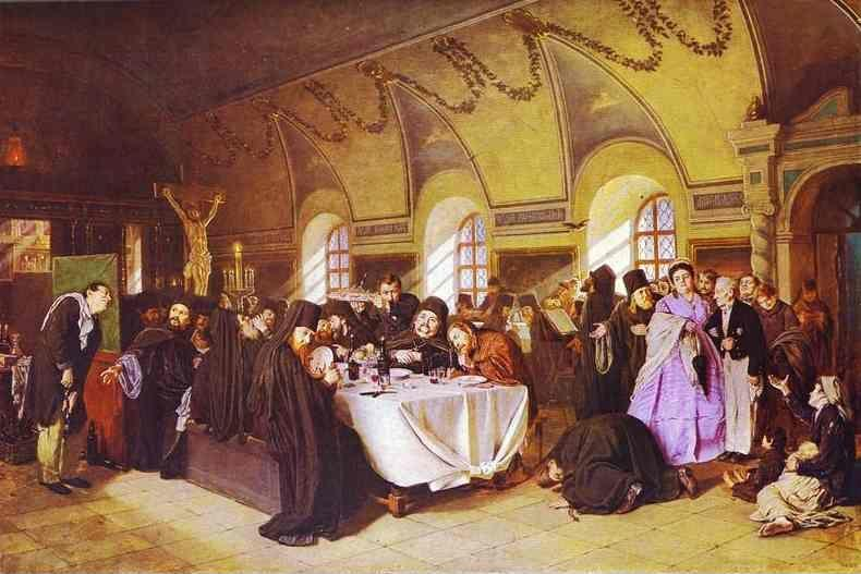Vasily Perov. A Meal in the Monastery.