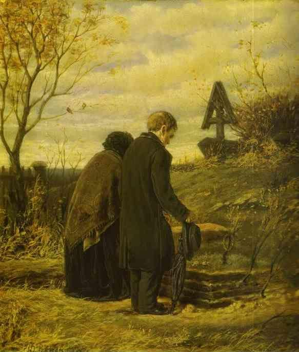Vasily Perov. Old Parents Visiting the Grave  of Their Son.