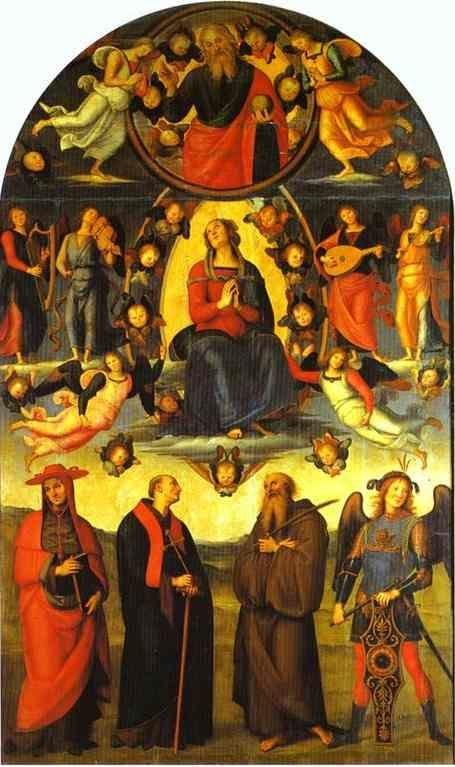 Pietro Perugino. The Assumption of the Virgin  with Saints.