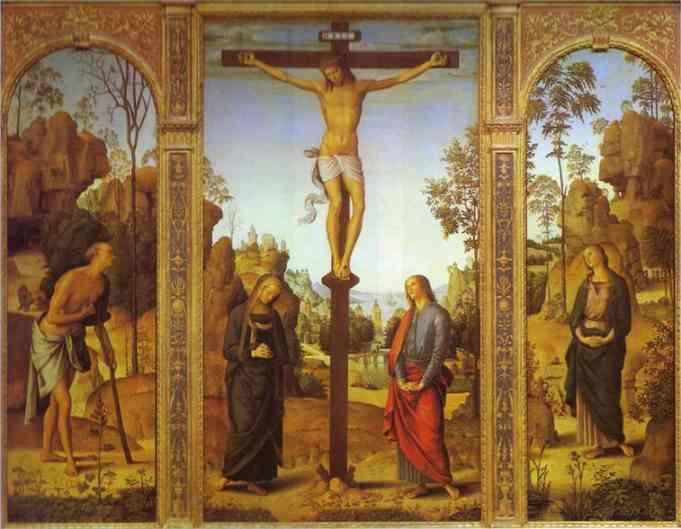 Pietro Perugino. The Crucifixion with  the Virgin, St. John, St. Jerome and St. Mary Magdalene.