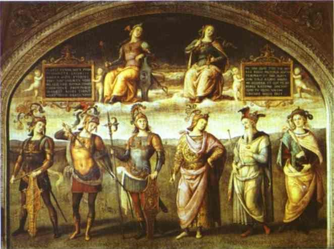 Pietro Perugino. The Fortitude and  Temperance with Six Antique Heroes.
