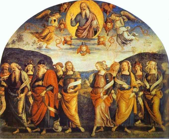 Pietro Perugino. The Almighty with  Prophets and Sibyls.