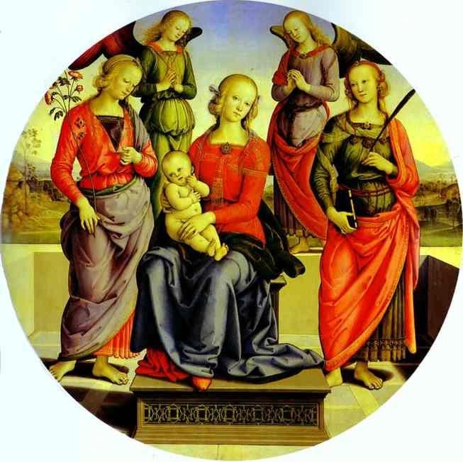 Pietro Perugino. The Virgin and Child  Surrounded by Two Angels, St. Rose, and St. Catherine.