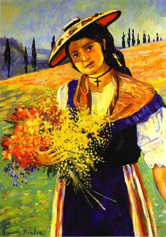 Francis Picabia. Young Girl with Flowers/Jeune  fille aux fleurs.