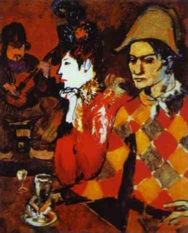 Pablo Picasso. In 'Lapin Agile' or Harlequin  with a Glass.