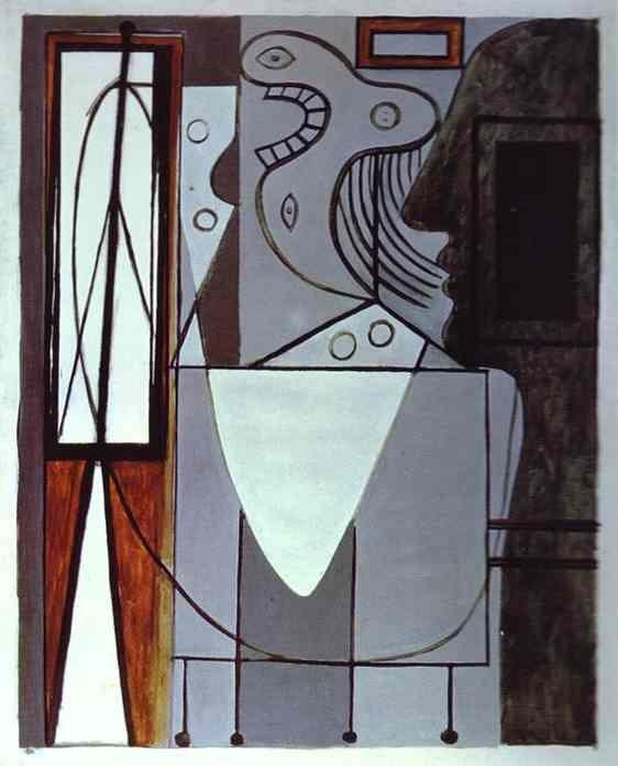 Pablo Picasso. Silhouette of Piccasso and  Young Girl Crying.