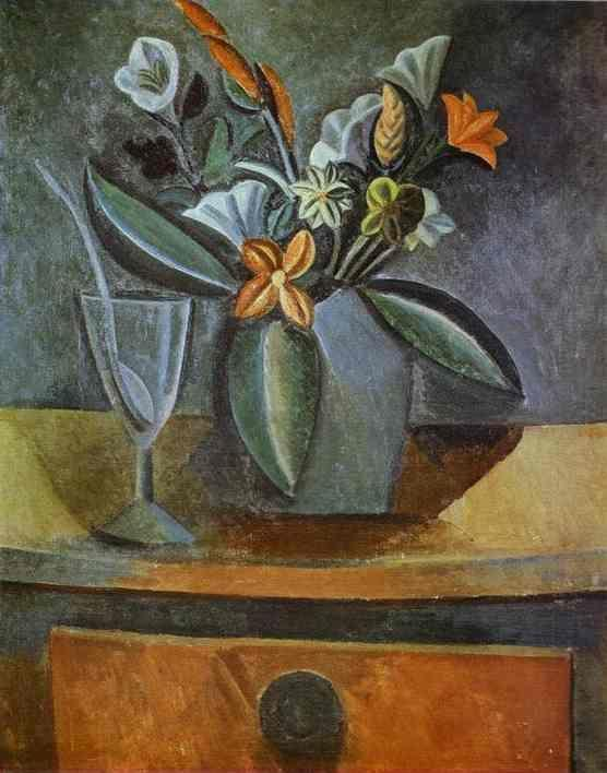 Pablo Picasso. Flowers in a Grey Jug and  Wine-Glass with Spoon.