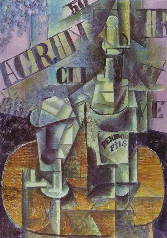 Pablo Picasso. Bottle of Pernod (Table in  a Café).