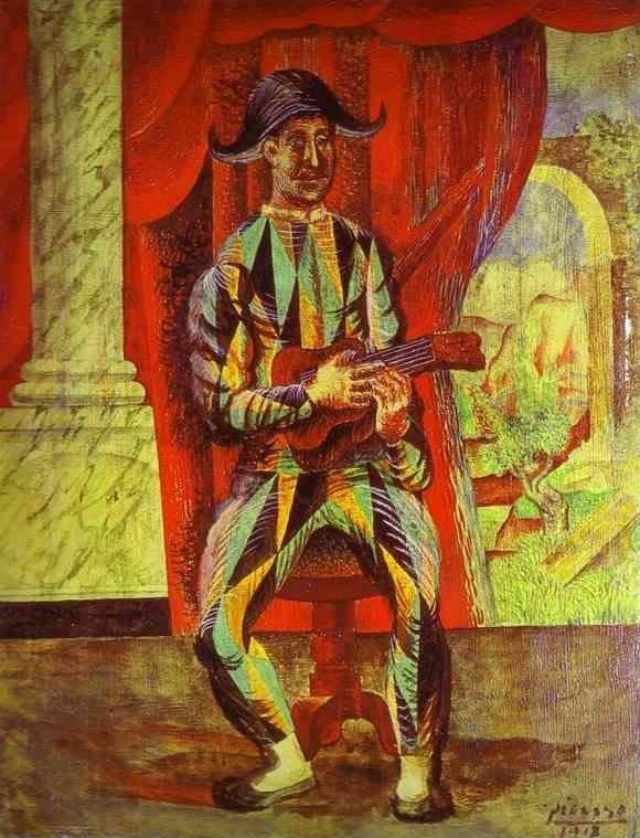 Pablo Picasso. Harlequin with a Guitar.