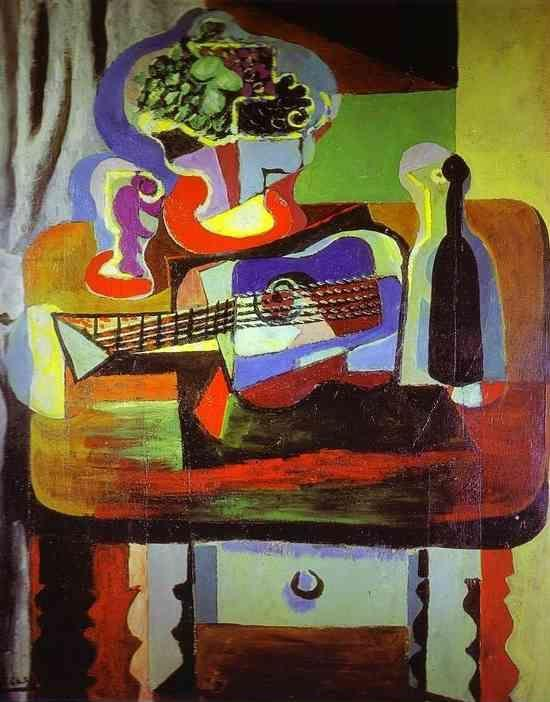 Pablo Picasso. Guitar, Bottle, Bowl with  Fruit, and Glass on Table.