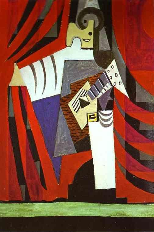 Pablo Picasso. Polichinelle with Guitar Before  the Stage Curtain.