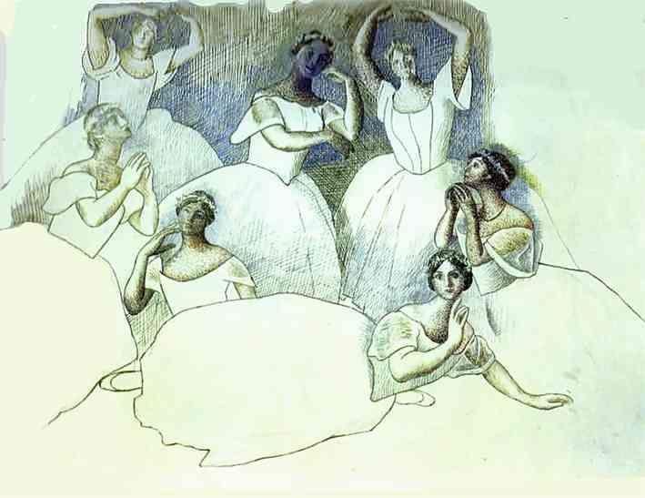 Pablo Picasso. Group of Dancers. Olga Kokhlova  is Lying in the Foreground.