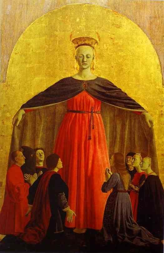 Piero della Francesca. Main panel of the Polyptych of the Misericordia. Madonna of Mercy.