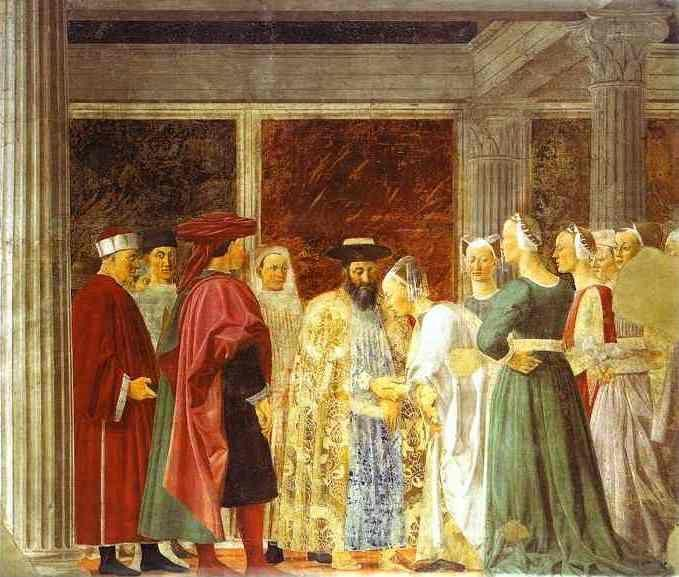 Piero della Francesca. Legend of the True Cross: the Queen of Sheba Meeting with Solomon.