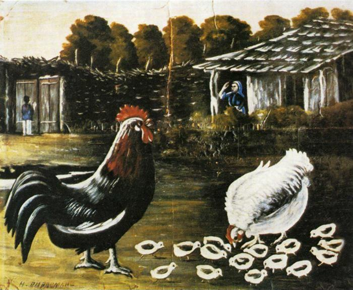 Niko Pirosmani. Rooster and Hen with Chickens.