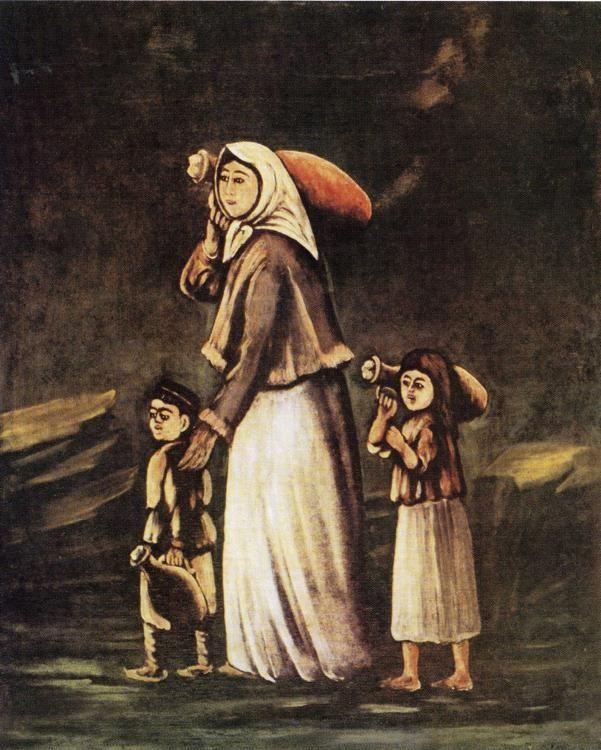 Niko Pirosmani. Peasant Woman with Children Goes for Water.