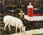 Niko Pirosmani. Lamb and Easter Table with Flying Angels.