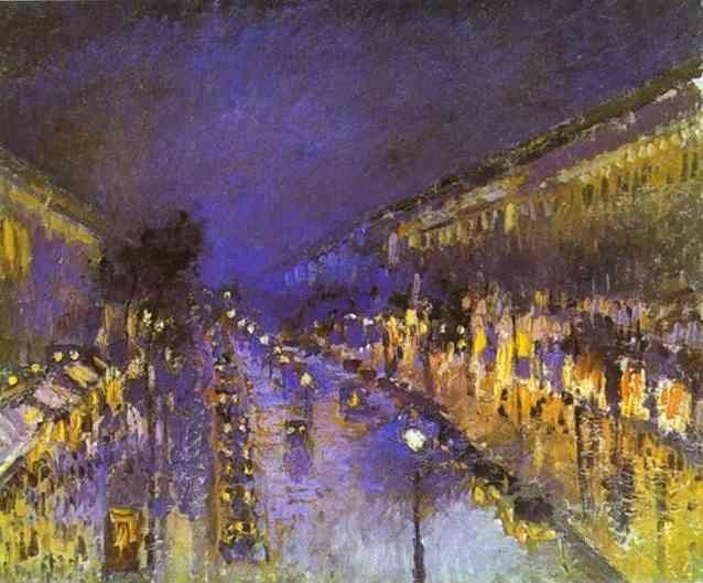 Camille Pissarro. The Boulevard Montmartre at Night.
