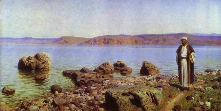 "Vasiliy Polenov. On the Genisaret (Tiberias) Lake. From the series ""The Life of Christ""."