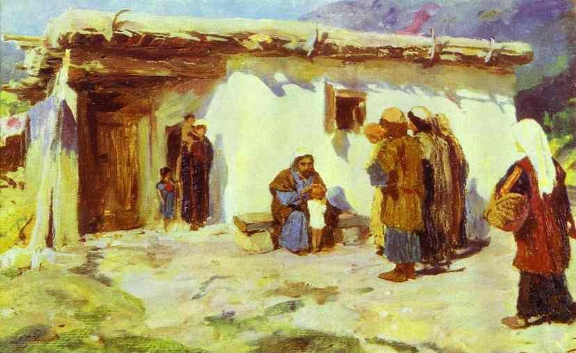 "Vasiliy Polenov. ""They Brought the Children"". Study. From the series ""The Life of Christ""."