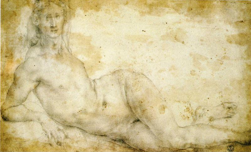 Pontormo. Female Nude. Study for the loggia frescoes in Careggi or Castello.