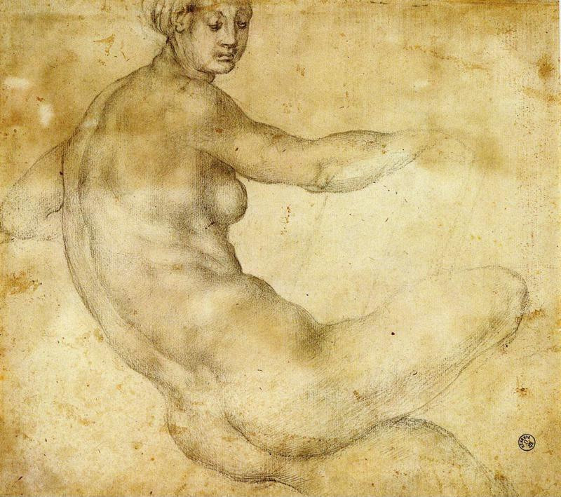 Pontormo. . Study for the loggia frescoes in Careggi or Castello. Female Nude.
