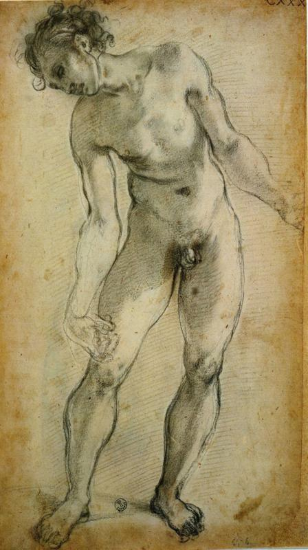 Pontormo. Male Nude. Study for the Deposition of Christ.