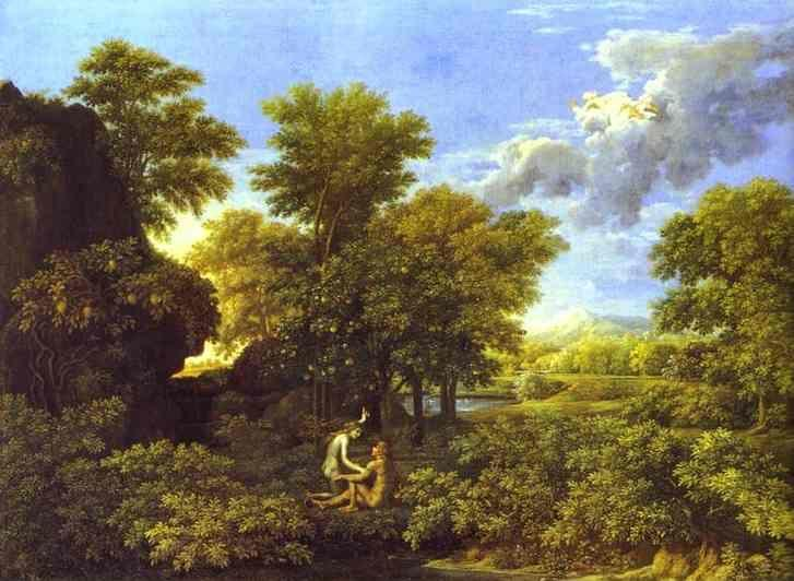 Nicolas Poussin. The Spring. Adam and Eve in Paradise.