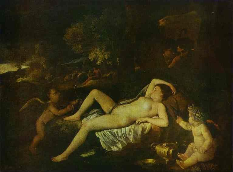 Nicolas Poussin. The Sleeping Venus and Cupid.