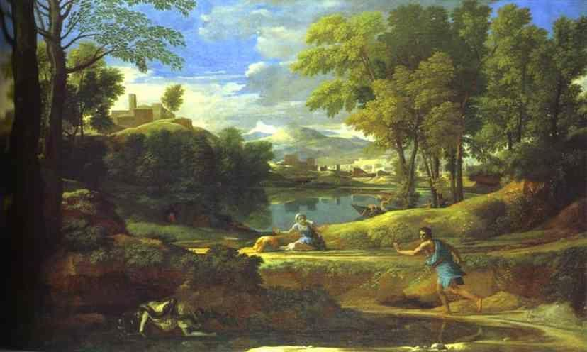 Nicolas Poussin. Landscape with a Man Running from Serpent.