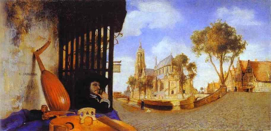 Carel Fabritius. View of Delft with  a Musical Instrument Seller's Stall.