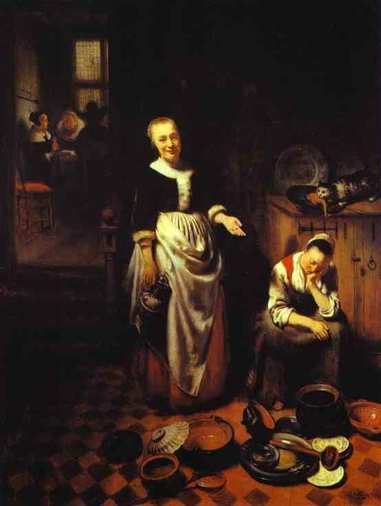 Nicolaes Maes. Interior with a Sleeping  Maid and Her Mistress (The Idle Servant).