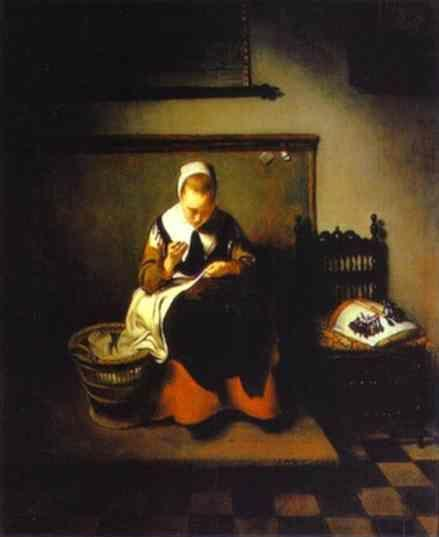 Nicolaes Maes. A Young Woman Sewing.