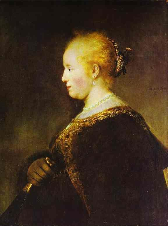 Rembrandt. Portrait of a Young Woman  with the Fan.